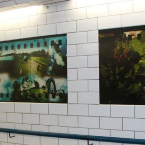 The installed panels in the retiled underpass