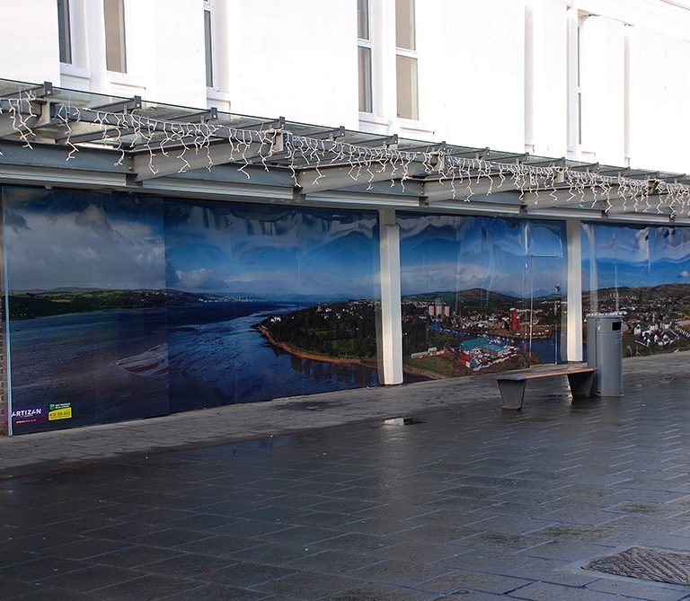 We shot large panoramic images of the local area