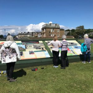 Panel installation for Largs D-Day Connection, group gathering