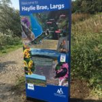 Close-up of totem sign at Haylie Brae, Largs