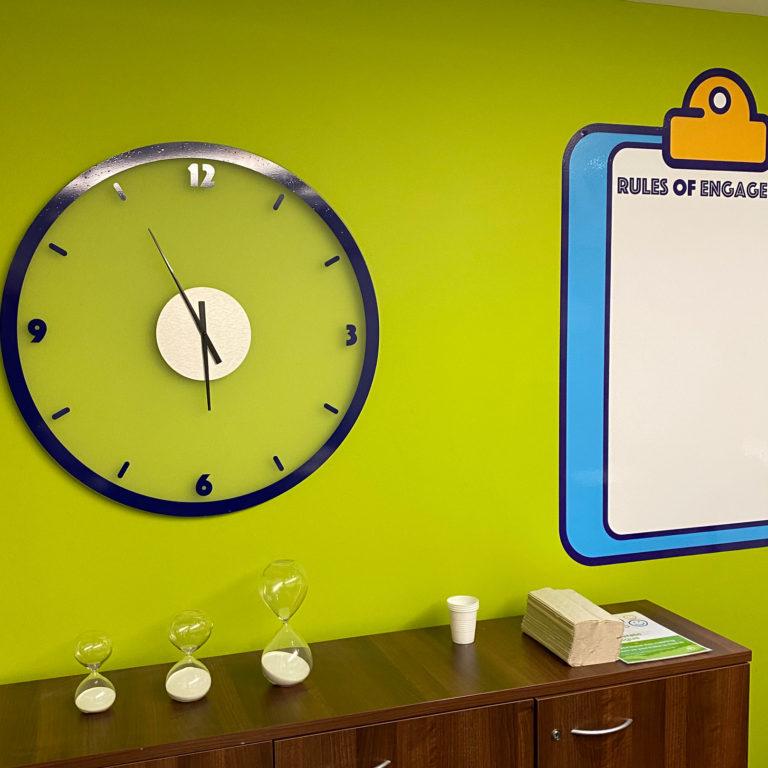 We made a bespoke clock, and a custom whiteboard