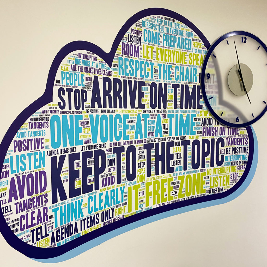 Office word cloud, with bespoke clock.