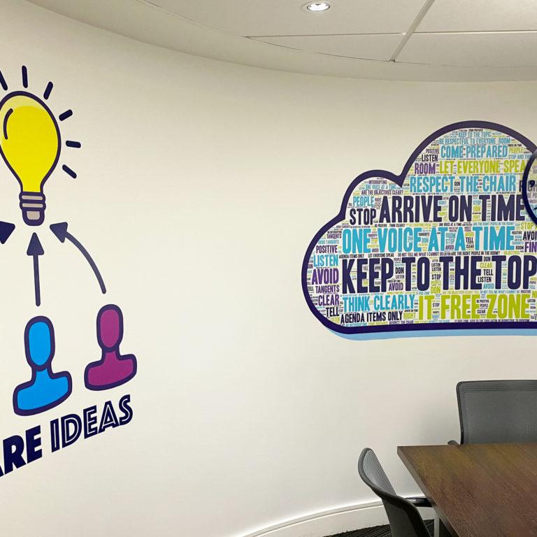 Motivational graphics transform a meeting room