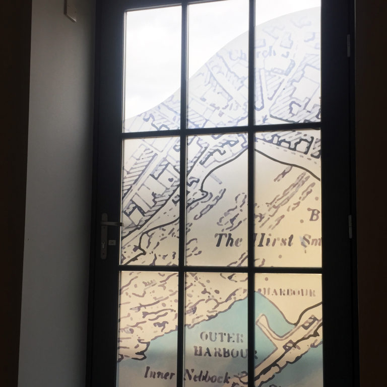 A historic map of Saltcoats provides privacy.